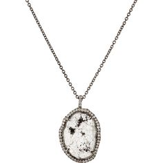 Monique Péan Women's Oval Pendant Necklace ($8,000) ❤ liked on Polyvore featuring jewelry, necklaces, white, white gold chain necklace, chain necklace, white gold jewellery, white pendant and white gold pendant