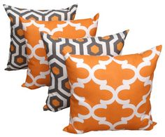 Magna and Fynn Cinnamon Orange and Gray Decorative Throw Pillows - Set of 4 $74.99 Quantity: Free Shipping Only 5 Left!