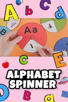 Alphabet Spinner - Fun with Education Help your little one master the alphabet with this fun printable alphabet spinner! Let them work on their ABC's with fun pictures kids can uncover as they spin the wheel. Alphabet Activities Kindergarten, Letter Activities, Preschool Learning Activities, Abc Preschool, Preschool Printables, Early Education, Kids Education, Learning English For Kids, Learning Spanish