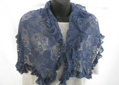 Ocean blue vintage lace up cycled crochet scarf, hand dyed repurposed ruffled lace wrap, feminine blue scarf, boho bridal wedding shawl by thelavenderpear on Etsy