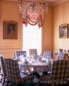Chichley---This pink panelled dining room features checked slip covers on the dining chairs and a table laid with a blue and white floral cloth Room Chairs, Dining Chairs, Dining Rooms, English Country Decor, French Country, Elegant Dining, Soft Furnishings, Fine Dining, Slipcovers