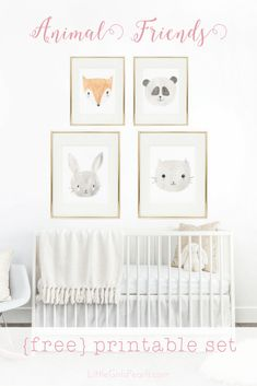 There's nothing sweeter than little baby animals for decorating a nursery! Print them for FREE right here! https://blog.littlegirlspearls.com/animal-friends-free-printable-set/ <3 #littlegirlspearls #nursery #freeprintable