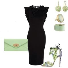 Classic black dress with a pop of color