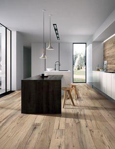 Wooden Flooring, Kitchen Flooring, Luxury Kitchens, Cool Kitchens, Home Interior Design, Interior Architecture, Casa Milano, Wood Grain Tile, Archi Design