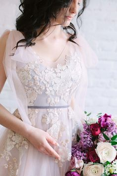 Blush wedding dress tulle and lace with a train, dusty blue and pink wedding dress, non-corset, long ribbons Light Pink Wedding Dress, Sheer Wedding Dress, Pregnant Wedding Dress, Blue Wedding Dresses, Wedding Dress Sleeves, Tulle Wedding, Designer Wedding Dresses, Bridal Dresses, Dresses With Sleeves