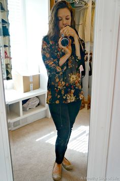 Like this.  Sweet Rain Isaac Floral Print Tab-Sleeve Blouse I saw it in a stitch fix post and it looked to be almost a minty green color.  LOVED IT