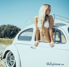 Sexy girl with an old vw beetle.... ? VW beetle bus # bikini # old school ?…
