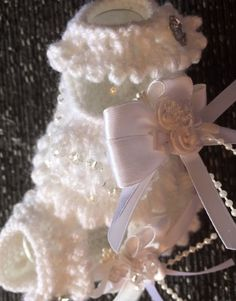 New White Crystal beaded Baby booties Newborn Hand knitted By Annie | eBay