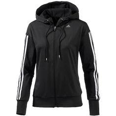 Sportliche schwarze #Trainingsjacke von #Adidas. Praktisch mit #Kapuze und Taschen - ob beim Sport, beim Joggen oder im Alltag. Die Streifen peppen die Jacke modisch auf. ♥ ab 64,95 €