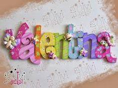 Resultado de imagen para nombres en mdf decorados Painting Wooden Letters, Painted Letters, Wood Letters, Monogram Letters, Decorated Letters, Hanging Letters, Wooden Crafts, Diy And Crafts, Crafts For Kids