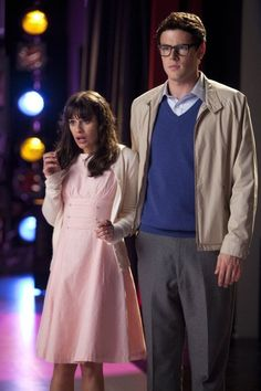 Still of Lea Michele and Cory Monteith in Glee (2009)