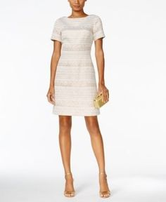 Vince Camuto Shimmer Jacquard Party Dress - Ivory/Cream 4