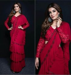 Ruffle saree Wine red designer sari blouse Two layer Ruffles Indian wedding sari Summer wedding Wear Indian Wedding Sari, Desi Wedding, Wedding Dress, Saree Wedding, Wedding Wear, Bridal Sarees, Summer Wedding, Bridal Dresses, Bollywood Wedding