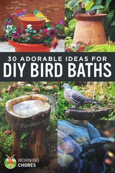30 Adorable DIY Bird Bath Ideas That Are Easy and Fun to Build #birdhouseideas