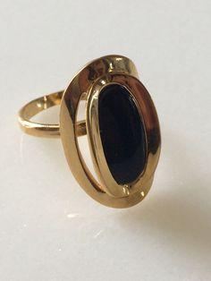 Vintage Modernist Cocktail Ring 18K Gold Filled Black Onyx Fashion Jewelry SZ 7