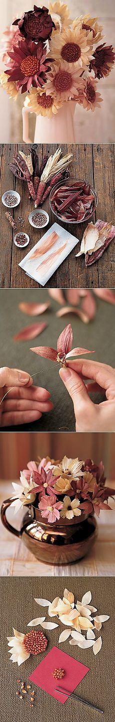 Долговечные цветочные композиции из листьев кукурузы
