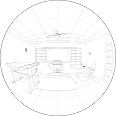 5 vanishing points. Example of Hemispherical Projection