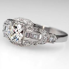 Art Deco Engagement Ring w/ Old Euro Diamond Platinum 1930's