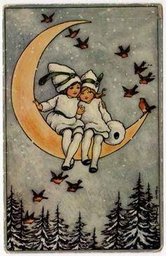 G'night #Moon... {vintage postcard - children sitting on crescent moon]..............lbxxx.