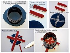 DIY Union Jack Fondant Cupcake Toppers - learn to make these british fondant toppers for your UK cupcakes! Fondant Cupcake Toppers, Fondant Cookies, Cupcake Cookies, Pretty Cakes, Cute Cakes, Theme Anglais, Union Jack Cake, Royal Cupcakes, Eagle Scout Cake