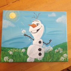 Acrylic painting on box canvas Disney Canvas Paintings, Canvas Painting Projects, Name Paintings, Diy Canvas, Acrylic Painting Canvas, Canvas Art, Olaf Drawing, Painting & Drawing, Frozen Painting