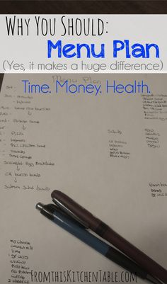 Menu Planning is huge! It's saves me so much time, energy, money and stress and helps me feed my family healthier foods. One of the most important organizational tools I use.
