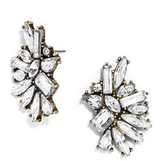 BaubleBar 'Crystal Dolores' Statement Stud Earrings ($21) ❤ liked on Polyvore featuring jewelry, earrings, oversized stud earrings, gold tone earrings, crystal stud earrings, crystal stone jewelry and sparkle jewelry