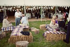 Bunting, fete vibe & hay bales wooden stump coffee tables