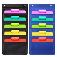 Hanging Wall File Organizer, 5 Pockets Heavy Duty Storage Pocket Chart Included 4 Over Door matel Hangers - Organize Your Assignments, Files, Scrapbook Papers & More (Black&Grey) Hanging File Organizer, Letter Organizer, Hanging File Folders, File Organiser, File Folder Organization, Bill Organization, Classroom Organization, Hanging Letters, Hanging Files