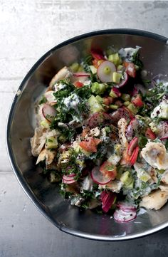 Na'ama's Fattoush with Flatbread, Crisp Veggies and a Tangy Greek ...