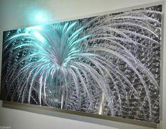 Abstract METAL art LED colour light reflect wall decor original modern sculpture