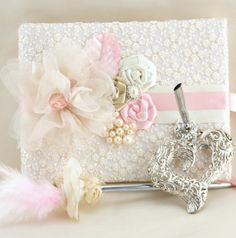 Wedding Guest Book And Pen Set In Blush Pink Ivory Champagne With Lace