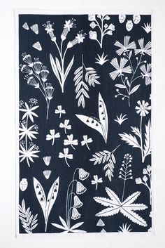 'Wild Flower' tea towels - Rosie Moss, nature, print, pattern, printmaking, repeat, navy, white, fabric, floral