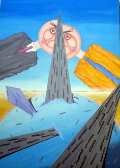 Contrapposizione inframezzata da una strada, 2008 olio su tela cm50x70, Pasquale Mastrogiacomo http://www.pasqualemastrogiacomo.it/?page_id=1694