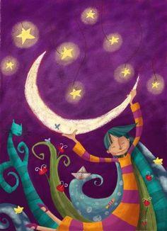 Moni Perez: El  Gato de Papel Night Illustration, People Illustration, Sun Moon Stars, Sun And Stars, Angel Artwork, Happy Birthday Video, Christmas Cover, Moon Magic, Moon Art