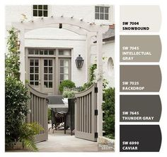 New farmhouse exterior paint colors shades 68 Ideas Exterior Paint Colors For House, Paint Colors For Home, Exterior Paint Combinations, Exterior Paint Schemes, Outside House Paint Colors, Stucco House Colors, White Stucco House, Outdoor Paint Colors, Paint Colours