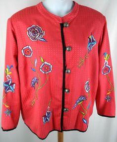 Allure Art to Wear Jacket Plus Size 2X Pink Embroidered Flowers Windowpane #Allure #BasicJacket