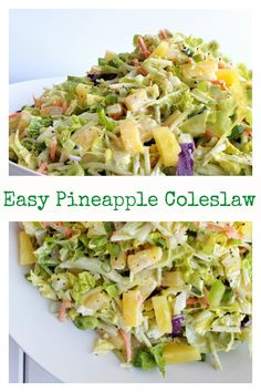 Easy Pineapple Coleslaw is going to remind you of summer all year long Enjoy as a side dish or top your favorite chicken burger with this oneThis Easy Pineapple Coleslaw. Slaw Recipes, Healthy Recipes, Chicken Recipes, Napa Cabbage Recipes, Napa Cabbage Salad, Pineapple Coleslaw, Hawaiian Coleslaw, Coleslaw Recipe Easy, Side Salad