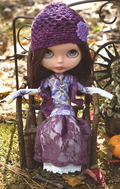 Bohemian Princess. Lace Skirt, Exotic Tee Shirt, Crocheted Sweater Vest, Crocheted Hat, And Beaded Necklace For Blythe Doll