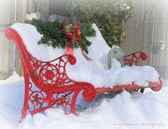 Red bench in snow
