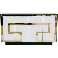 Italian Glass and Mirror Credenza | From a unique collection of antique and modern credenzas at https://www.1stdibs.com/furniture/storage-case-pieces/credenzas/