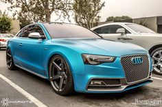 "Teal electric matte blue Audi S5.  ""@protectivefilmsolutions's wrapped #audi #audis5 #audia5 #audirs5 #vinylwrap #CarbonFiber #carswithoutlimits #CarNinja #targatrophy #speedsociety…"""
