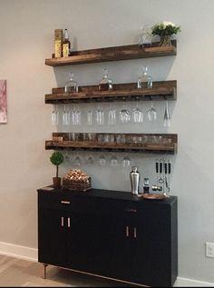 Diy Home Bar, Home Bar Decor, In Home Bar Ideas, Home Wine Bar, Diy Bar, Bar Shelves, Wall Mounted Shelves, Wine Shelves, Wall Bar Shelf