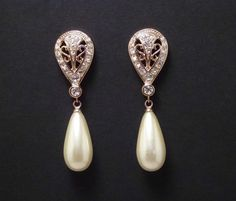 Pearl Drop Earrings with crystal touches
