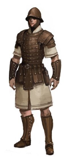 soldier with steel helmet and studded leather armor Fantasy Male, Fantasy Armor, Fantasy Weapons, Inspiration Drawing, Fantasy Inspiration, Character Inspiration, Fantasy Character Design, Character Concept, Character Art