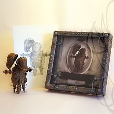 """Funny and strange robot with his portrait presented in hand personalised frame and a original drawing by the same artist - Robot-1 """"Chabada"""""""