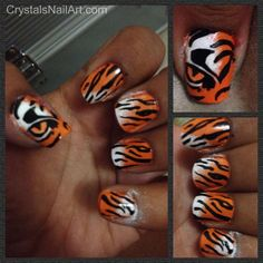 Tiger Stripe Nail Art. Perfect for tournament time!!!!