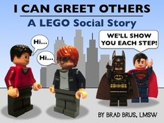 Help students with social challenges understand initial steps towards social interaction using this engaging LEGO social story about GREETING OTHERS!     Social stories communicate social skills through simple, understandable language and pictures.  Using a high-interest medium such as Lego minifigures increases meaning and ownership for the child.