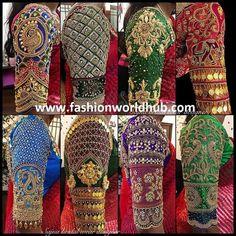 Mind blowing Maggam work blouse designs by Sajna bridal wear designer! Best Blouse Designs, Wedding Saree Blouse Designs, Pattu Saree Blouse Designs, Blouse Neck Designs, Saree Wedding, Blouse Styles, Hand Work Blouse Design, Stylish Blouse Design, Aari Work Blouse