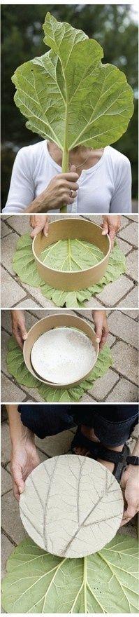 DIY leaf imprinted garden stepping stones.